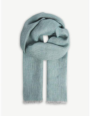 OSCAR JACOBSON Chevron-patterned linen scarf