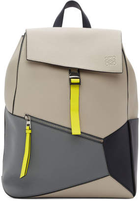 Loewe Grey and Blue Puzzle Backpack