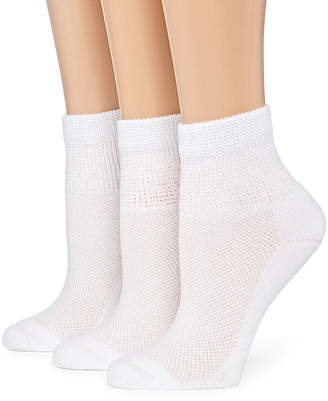 Asstd National Brand Berkshire Non Binding 3 Pk Ankle Socks - Womens