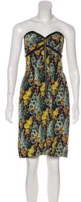 Vena Cava Silk Floral Print Strapless Dress