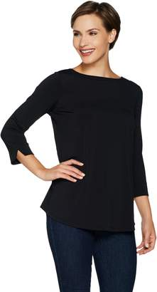 Joan Rivers Classics Collection Joan Rivers 3/4 Sleeve Knit Top with Triple Back Pleat