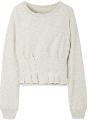 Current/Elliott The Pintucked Frayed French Cotton-terry Sweatshirt - Gray