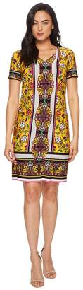 London Times Clover Floral Scarf V-Neck Short Dress Women's Dress