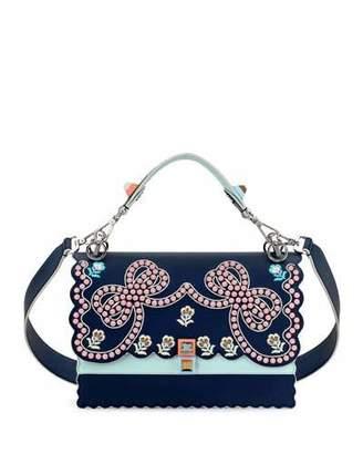 Fendi Kan I Studded Bows Top-Handle Shoulder Bag, Blue $3,300 thestylecure.com