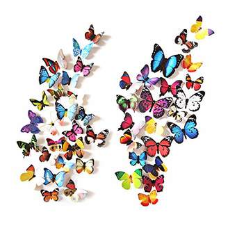 Mural eoorau 80PCS Butterfly Wall Decals - 3D Butterflies Decor for Wall Removable Stickers Home Decoration Kids Room Bedroom Decor