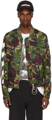 Off-White Off White Green Diagonal Camouflage Bomber Jacket