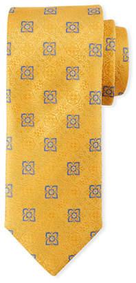 Canali Men's Fancy Medallion Silk Tie, Yellow
