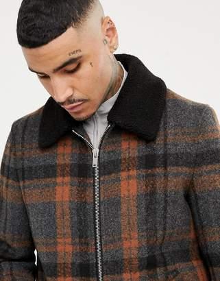 Asos DESIGN zip through jacket in gray check