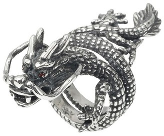Crayo Men's 1/6 CT. T.W. Round Cut CZ Inlaid Dragon Ring in Stainless Steel - Silver $22.99 thestylecure.com