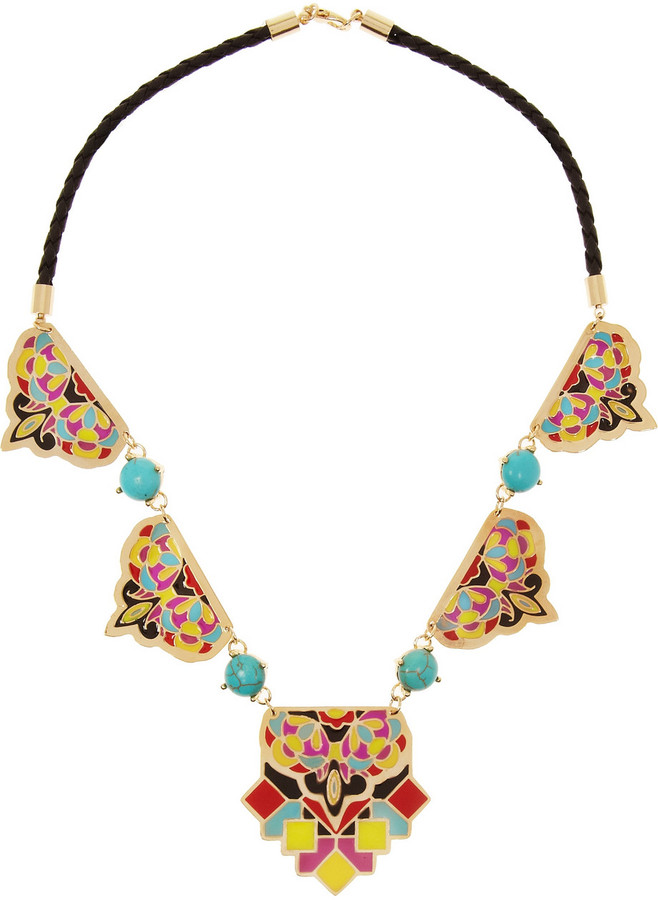 Noir Acapulco enameled gold-plated necklace