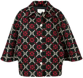 Gucci GG diamond wool cape coat