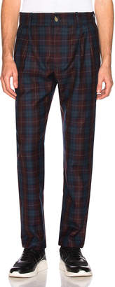 Leon Aime Dore Trouser in Red & Green & Navy Plaid | FWRD