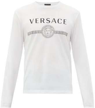 Versace Classic Logo Print Cotton T Shirt - Mens - White