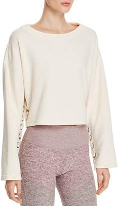 Alo Yoga Cropped Lace-Up Sweatshirt