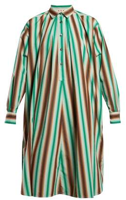 Marni Striped Cotton Shirtdress - Womens - Green Stripe