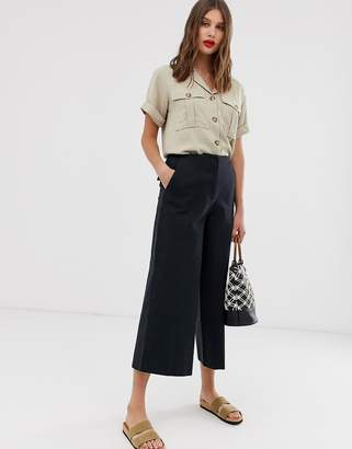 Asos DESIGN wide leg canvas pants in navy
