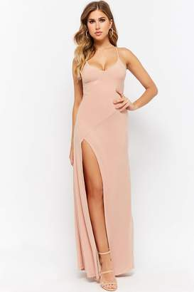 Forever 21 Lace-Up Back V-Neckline Slit-Front Maxi Dress