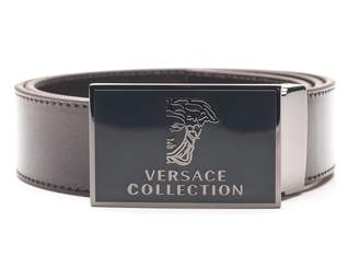 Versace Men's Medusa Stainless Steel Buckle Leather Belt