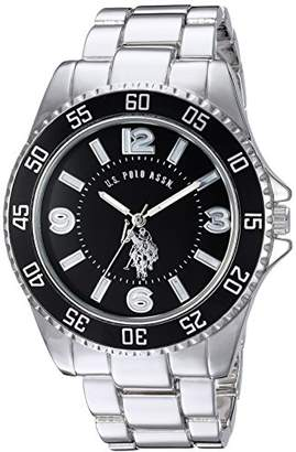U.S. Polo Assn. Men's Silver-Toned Watch with a Black Dial