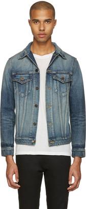 Saint Laurent Blue Denim 'Sweet Dreams' Shark Patch Jacket $1,790 thestylecure.com