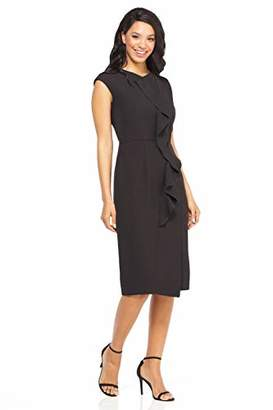 Maggy London Women's Solid Crepe mid Length Sheath with Cascade Ruffle Detail