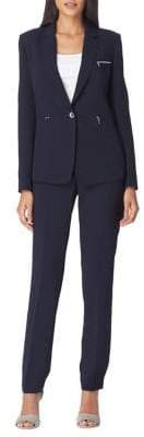 Tahari Arthur S. Levine Crepe Notch Lapel Zip Suit