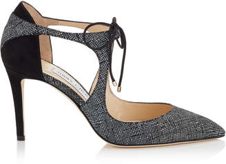 Jimmy Choo VANESSA 85 Black Canvas Leather and Suede Pointy Toe Pumps