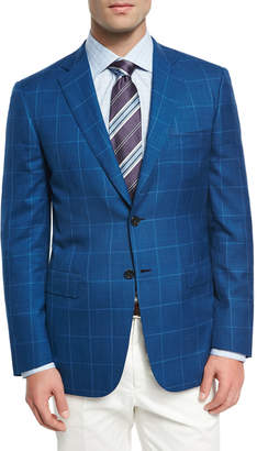 Brioni Windowpane Wool-Linen-Silk Sport Coat, High Blue