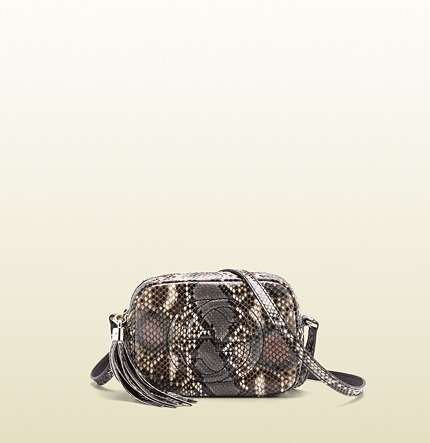 Gucci Soho Dark Pink Shiny Python Disco Bag