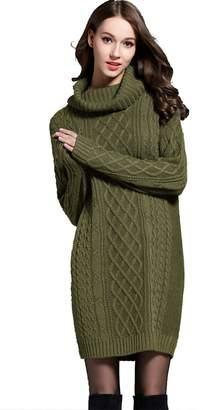 Mingnos Women Long Turtleneck Cable Knit Sweater Plus