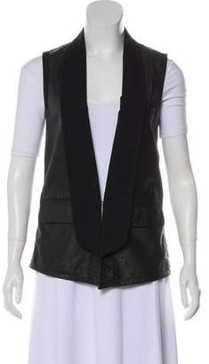 Yigal Azrouel Leather Open-Front Vest