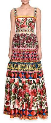 Dolce & Gabbana Embellished Long Peasant Gown, Pink Print/Multi $8,295 thestylecure.com