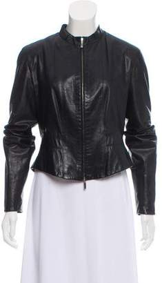 Max Mara Collarless Leather Jacket