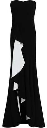 Cinq à Sept Strapless Draped Two-tone Stretch-crepe Gown