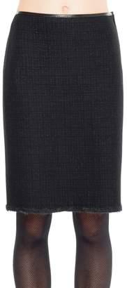 Max Studio Boiled Wool Shadow Checked Pencil Skirt