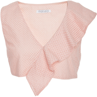 Marysia Swim Rose Seahaven Asymmetric Ruffle Top $285 thestylecure.com