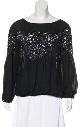 Ramy Brook Lace-Trimmed Silk Top