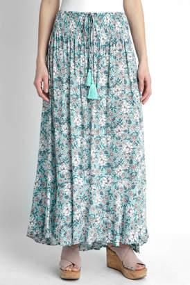 Tiare Hawaii Turquoise Printed Smocked Maxi Skirt