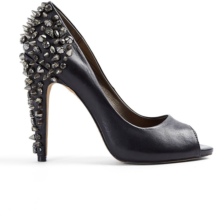 Sam Edelman Black Lorissa Studded Heel Peeptoe Court Shoes