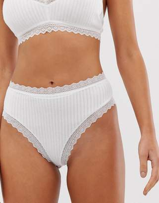 Monki high waisted lace trim brief in white