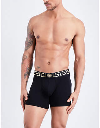 Versace Iconic low-rise stretch-cotton trunks $48 thestylecure.com