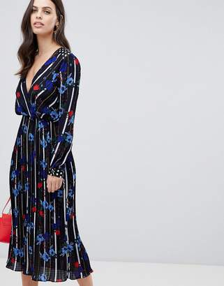 Liquorish floral and stripe print maxi dress with pleated skirt