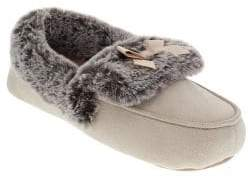 totes Faux Fur-Trimmed Moccasin Slippers