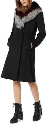One Madison Fox Fur Trim Grommet Belted Coat