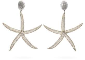 Oscar de la Renta Starfish Bead Embellished Drop Clip Earrings - Womens - Silver