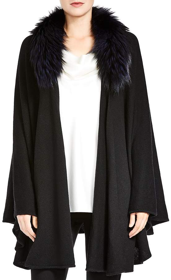 Open-Front Detachable Fox Fur Collar Poncho Sweater