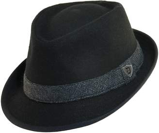 Dorfman Pacific Men's Wool Blend Fedora Hat with Herringbone Band, 2XL