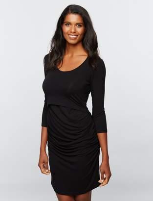 A Pea in the Pod Ripe Lift Up Super Soft Nursing Dress- Black