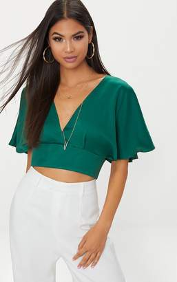 PrettyLittleThing Emerald Green Satin Flare Sleeve Plunge Crop Top
