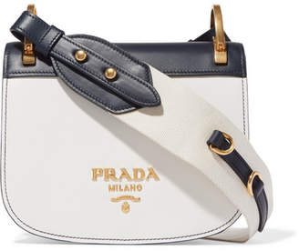 Prada Pionnière Two-tone Leather Shoulder Bag - White